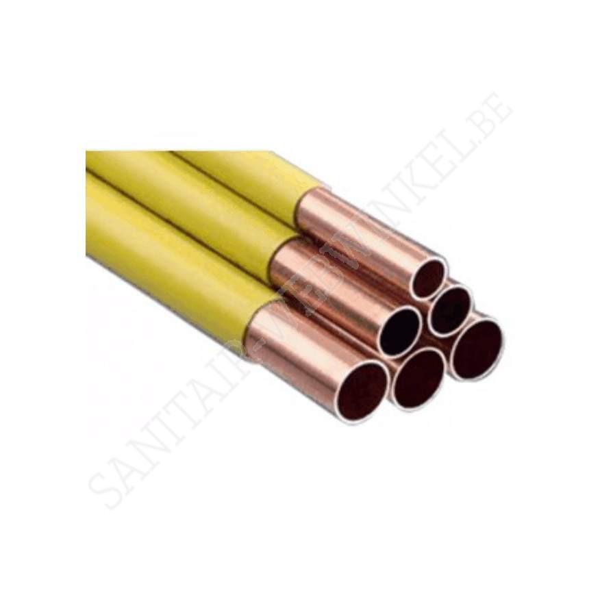 Lengte koper buis Ø15 mm voor gas met gele coating 5 meter