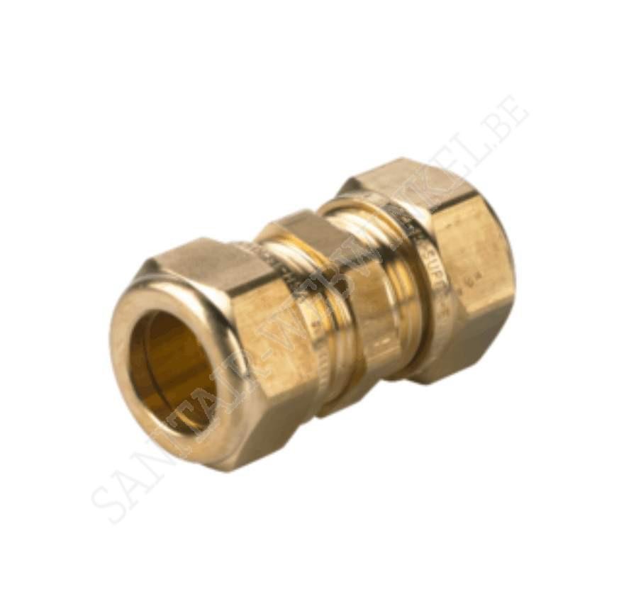 Rechte knelkoppeling water 2 x klem Ø 15 mm
