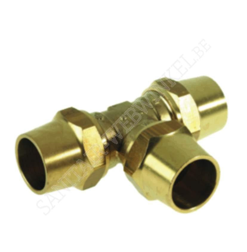 T-stuk knelkoppeling gas  Ø 22 mm