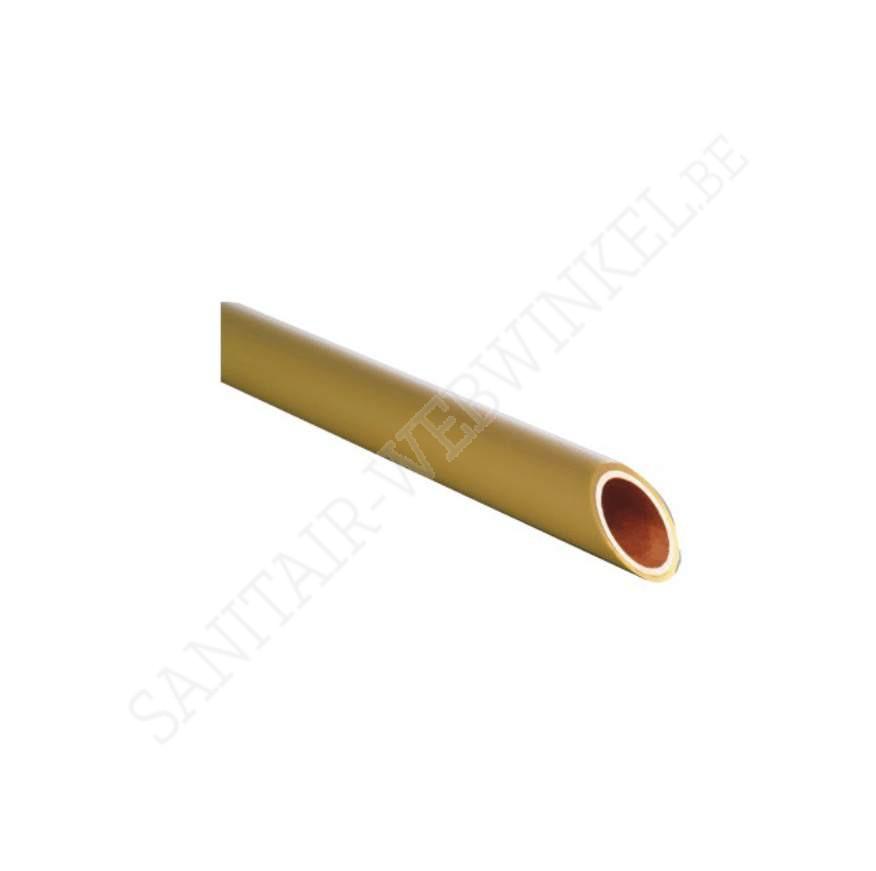Koper buis Ø15 mm op rol 25m voor gas met gele coating
